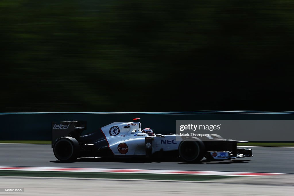 Kamui Kobayashi of Japan and Sauber F1 drives during the Hungarian Formula One Grand Prix at the Hungaroring on July 29, 2012 in Budapest, Hungary.