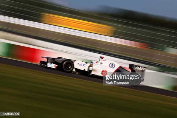 Kamui Kobayashi of Japan and Sauber F1 drives on his way to third place during the Japanese Formula One Grand Prix at the Suzuka Circuit on October 7...