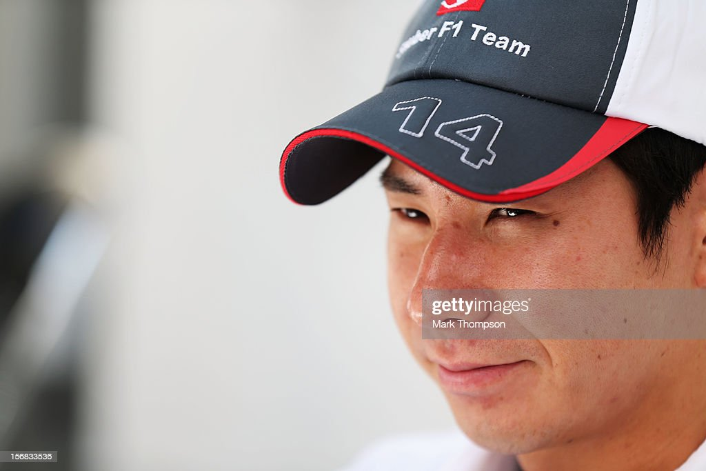 Kamui Kobayashi of Japan and Sauber F1 is seen outside his team hospitaly unit during previews for the Brazilian Formula One Grand Prix at the Autodromo Jose Carlos Pace on November 22, 2012 in Sao Paulo, Brazil.
