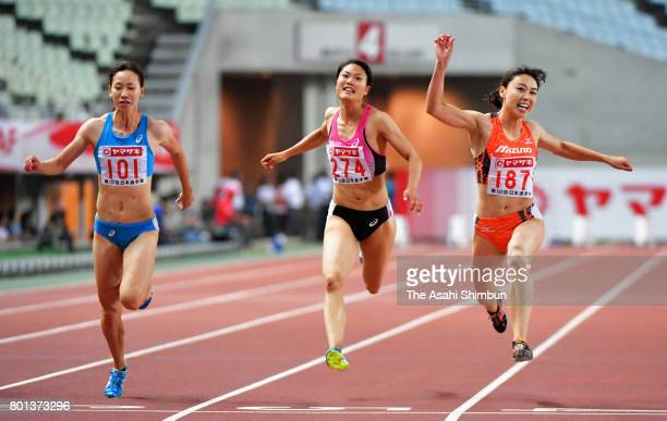Kana Ichikawa crosses the finish line to win the Women's 100m final during day two of the 101st JAAF Athletics Championships at Yanmar Stadium Nagai...