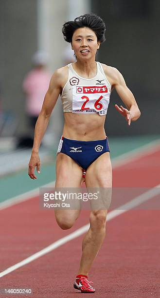 Kana Ichikawa of Japan competes in the Women's 200m heat during day two of the 96th Japan National Championships at Nagai Stadium on June 9 2012 in...