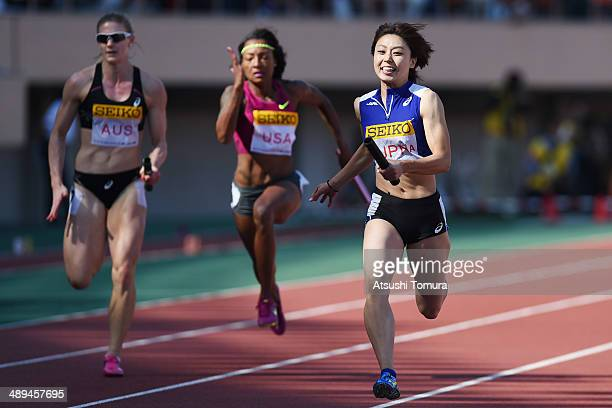 Kana Ichikawa of Japan competes in Women's 4 x 100m Relay Final during the Seiko Golden Grand Prix Tokyo 2014 at National Stadium on May 11 2014 in...