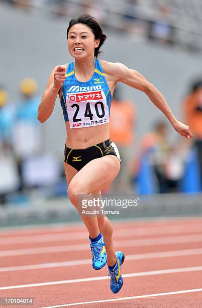 Kana Ichikawa of Japan in action during the Women's 100m sprint during day one of the 97th Japan Track Field Championships at Ajinomoto Stadium on...