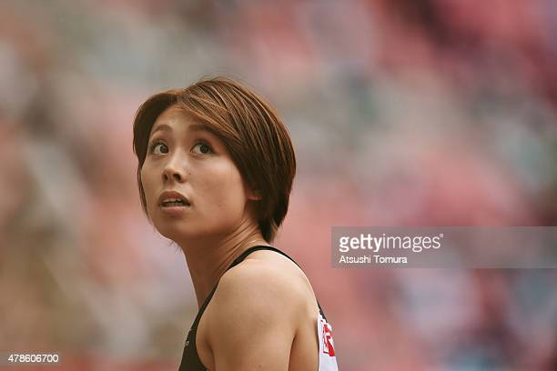 Kana Ichikawa of Japan looks on during the 99th Japan Athletics National Championships at Denka Big Swan Stadium on June 26 2015 in Niigata Japan