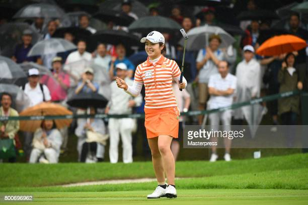 Kana Mikashima of Japan celebrates after making her birdie putt on the 18th green during the final round of the Earth Mondamin Cup at the Camellia...