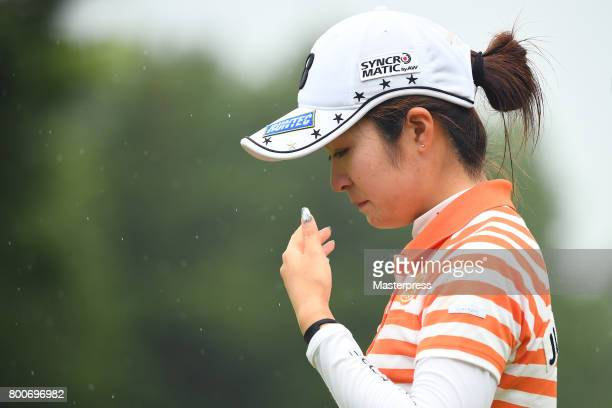 Kana Mikashima of Japan cries after losing the Earth Mondamin Cup at the Camellia Hills Country Club on June 25 2017 in Sodegaura Japan