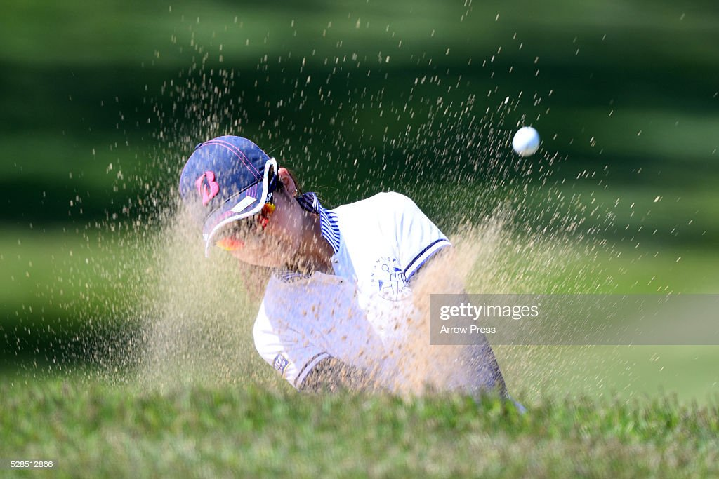 Kana Mikashima of Japan hits from a bunker on the 3th hole during the first round of the World Ladies Championship Salonpas Cup at the Ibaraki Golf Club on May 5, 2016 in Tsukubamirai, Japan.