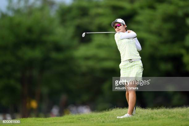Kana Mikashima of Japan hits her second shot on the 15th hole during the first round of the Century 21 Ladies Golf Tournament 2017 at the Seta Golf...