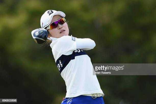 Kana Mikashima of Japan hits her tee shot on the 12th hole during the second round of the Nichirei Ladies at the on June 17 2017 in Chiba Japan