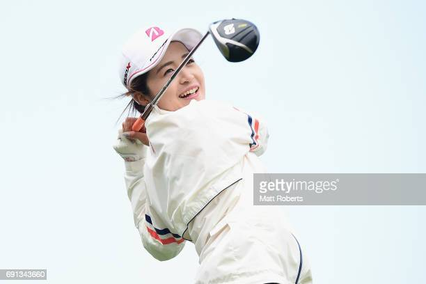 Kana Mikashima of Japan hits her tee shot on the 1st hole during the first round of the Yonex Ladies Golf Tournament 2016 at the Yonex Country Club...
