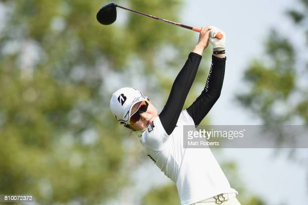 Kana Mikashima of Japan hits her tee shot on the 1st hole during the first round of the Nipponham Ladies Classics at the Ambix Hakodate Club on July...