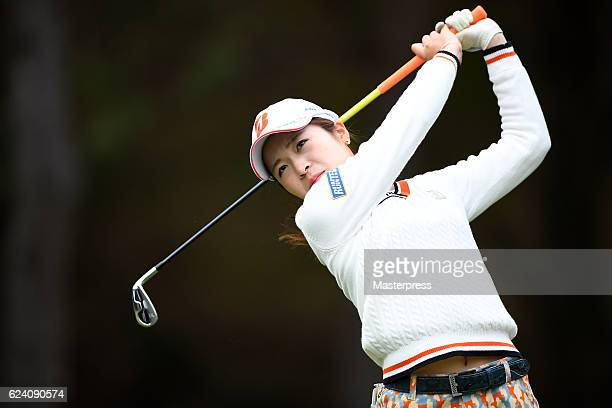 Kana Mikashima of Japan hits her tee shot on the 3rd hole during the second round of the Daio Paper Elleair Ladies Open 2016 at the Elleair Golf Club...