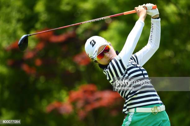 Kana Mikashima of Japan hits her tee shot on the 6th hole during the second round of the Earth Mondamin Cup at the Camellia Hills Country Club on...