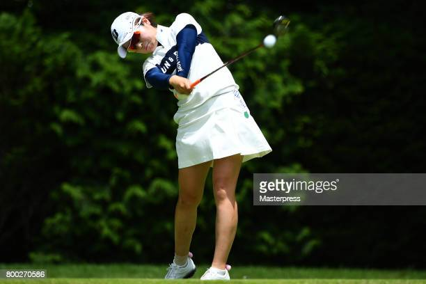 Kana Mikashima of Japan hits her tee shot on the 7th hole during the third round of the Earth Mondamin Cup at the Camellia Hills Country Club on June...
