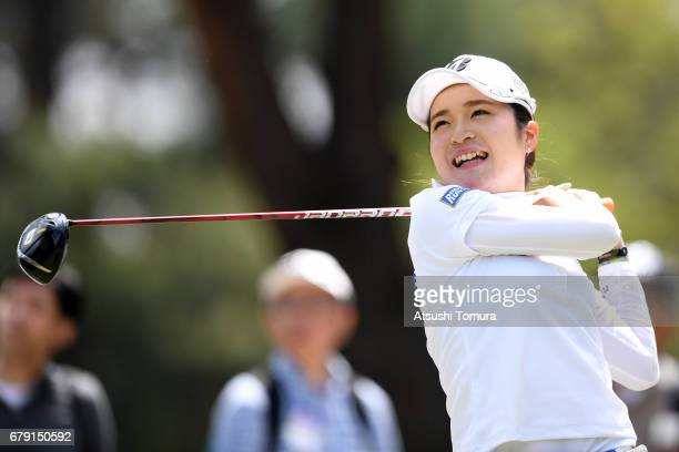Kana Mikashima of Japan hits her tee shot on the 9th hole during the second round of the World Ladies Championship Salonpas Cup at the Ibaraki Golf...