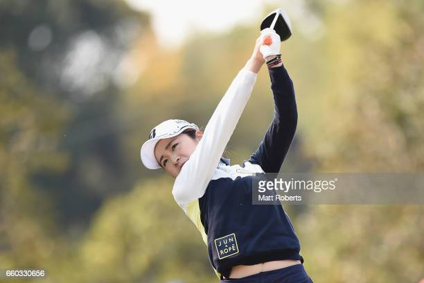 Kana Mikashima of Japan hits her tee shot on the first hole during the first round of the YAMAHA Ladies Open Katsuragi at the Katsuragi Golf Club...
