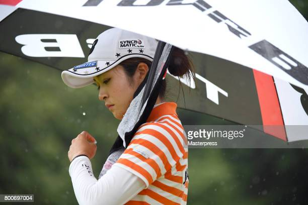 Kana Mikashima of Japan looks on during the final round of the Earth Mondamin Cup at the Camellia Hills Country Club on June 25 2017 in Sodegaura...