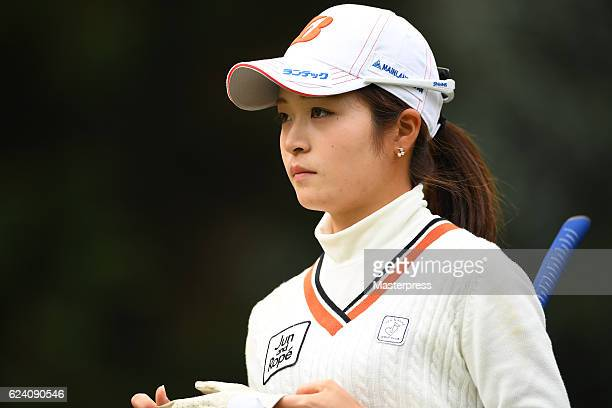 Kana Mikashima of Japan looks on during the second round of the Daio Paper Elleair Ladies Open 2016 at the Elleair Golf Club on November 18 2016 in...