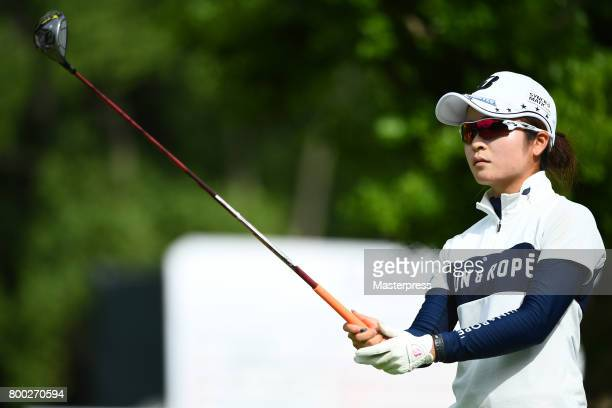 Kana Mikashima of Japan looks on during the third round of the Earth Mondamin Cup at the Camellia Hills Country Club on June 24 2017 in Sodegaura...