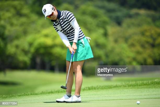 Kana Mikashima of Japan putts during the second round of the Earth Mondamin Cup at the Camellia Hills Country Club on June 23 2017 in Sodegaura Japan