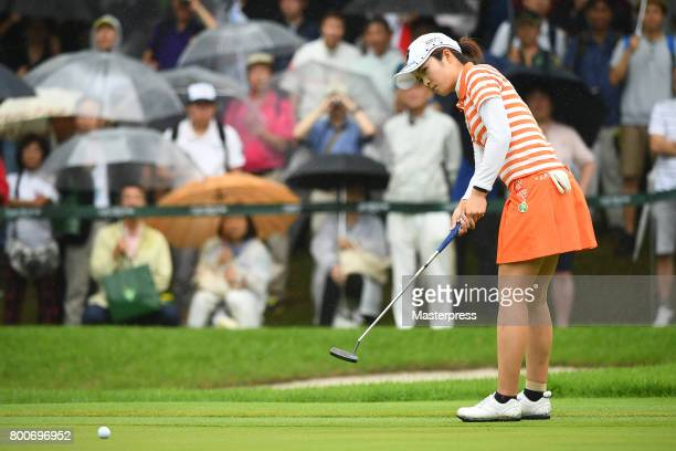 Kana Mikashima of Japan putts for the birdie on the 18th green during the final round of the Earth Mondamin Cup at the Camellia Hills Country Club on...