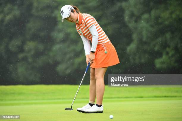 Kana Mikashima of Japan putts on during the final round of the Earth Mondamin Cup at the Camellia Hills Country Club on June 25 2017 in Sodegaura...