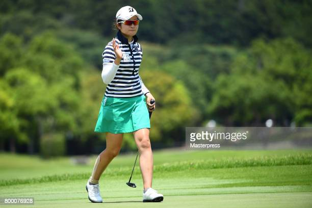 Kana Mikashima of Japan reacts after making her birdie putt during the second round of the Earth Mondamin Cup at the Camellia Hills Country Club on...