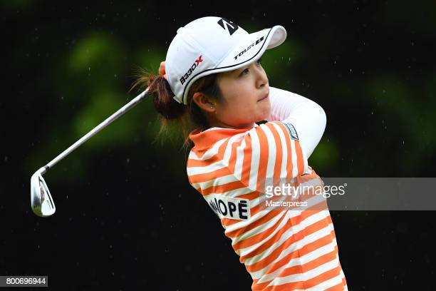 Kana Mikashima of Japan shots on during the final round of the Earth Mondamin Cup at the Camellia Hills Country Club on June 25 2017 in Sodegaura...