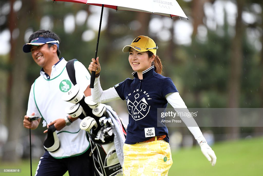 Kana Mikashima of Japan smails during the second round of the World Ladies Championship Salonpas Cup at the Ibaraki Golf Club on May 6, 2016 in Tsukubamirai, Japan.