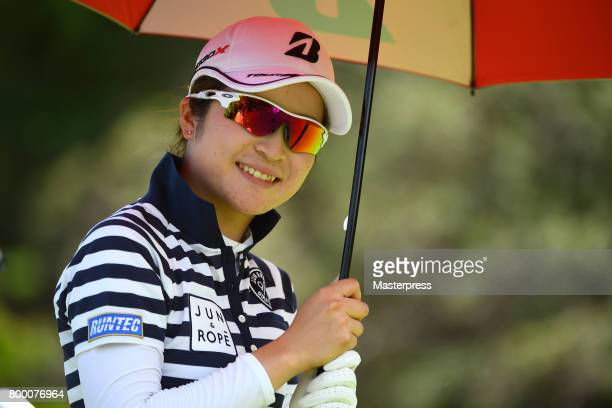 Kana Mikashima of Japan smiles during the second round of the Earth Mondamin Cup at the Camellia Hills Country Club on June 23 2017 in Sodegaura Japan