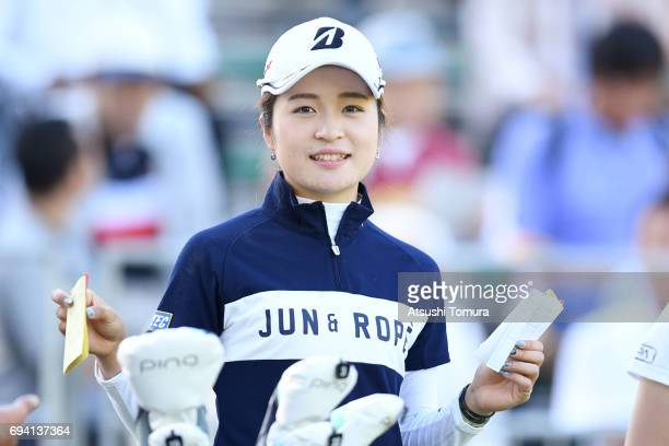 Kana Mikashima of Japan smiles during the second round of the Suntory Ladies Open at the Rokko Kokusai Golf Club on June 9 2017 in Kobe Japan