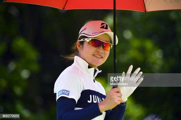 Kana Mikashima of Japan smiles during the third round of the Earth Mondamin Cup at the Camellia Hills Country Club on June 24 2017 in Sodegaura Japan