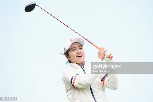 Kana Mikashima of Japan watches her tee shot on the 1st hole during the first round of the Yonex Ladies Golf Tournament 2016 at the Yonex Country...