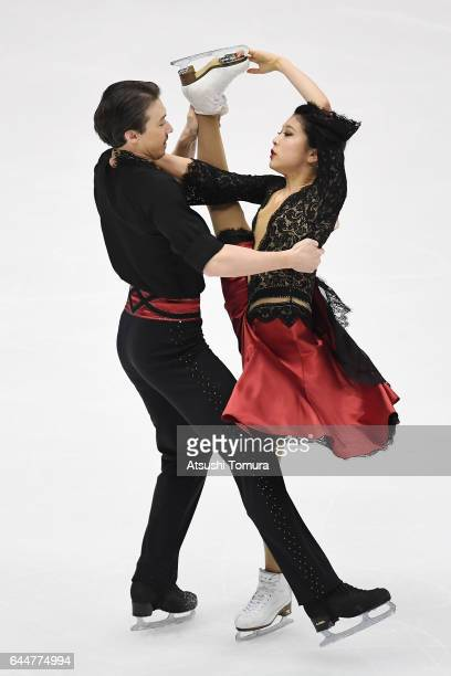 Kana Muramoto and Chris Reed of Japan compete in the figure skating ice dance free dance on the day seven of the 2017 Sapporo Asian Winter Games at...