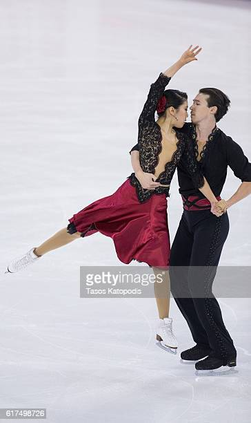 Kana Muramoto and Chris Reed of Japan compete in the ice dance free dance at 2016 Progressive Skate America at Sears Centre Arena on October 23 2016...