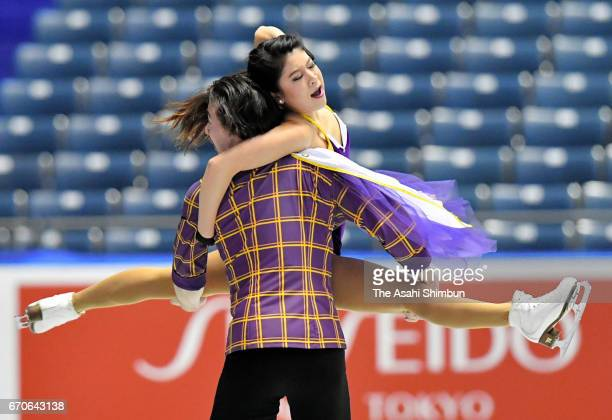 Kana Muramoto and Chris Reed of Japan in action at a practice session during day one of the ISU World Team Trophy 2017 at Yoyogi National Gymnasium...