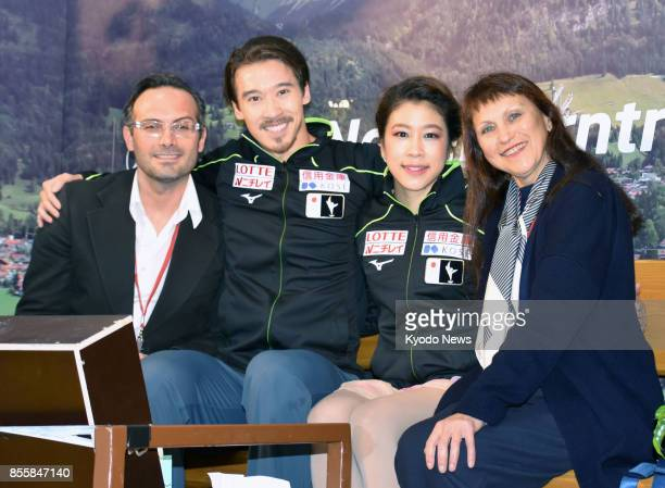 Kana Muramoto and Chris Reed pose for a photo after placing second in the Nebelhorn Trophy in Orberstdorf Germany on Sept 30 a qualifying event for...