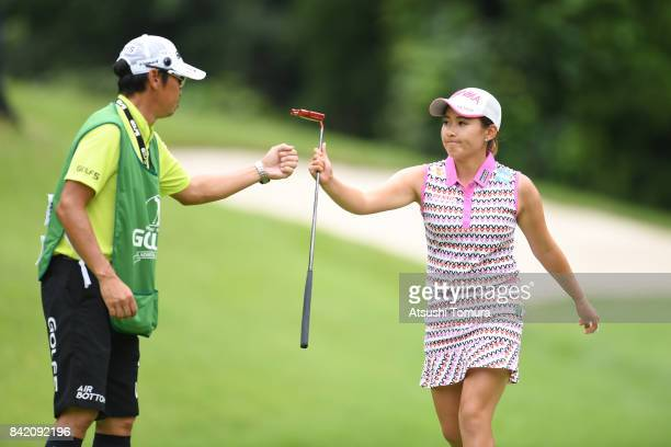 Kana Nagai of Japan celebrates after making her birdie putt on the 16th hole during the final round of the Golf 5 Ladies Tournament 2017 at the Golf...