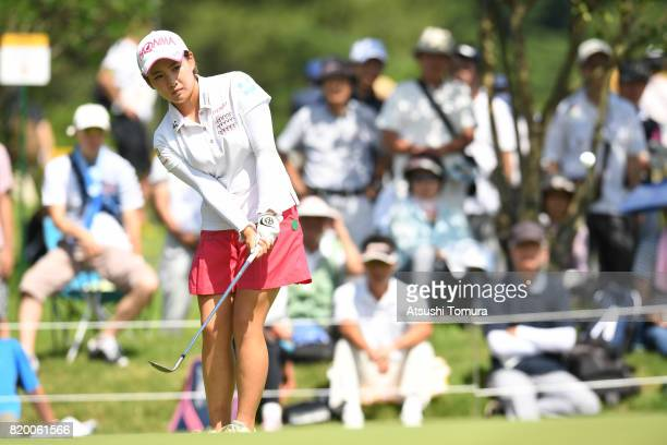 Kana Nagai of Japan chips onto the 18th green during the first round of the Century 21 Ladies Golf Tournament 2017 at the Seta Golf Course on July 21...