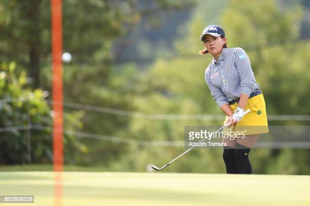 Kana Nagai of Japan chips onto the 1st green during the final round of the Miyagi TV Cup Dunlop Ladies Open 2017 at the Rifu Golf Club on September...
