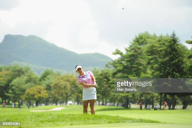 Kana Nagai of Japan chips onto the 9th green during the final round of the NEC Karuizawa 72 Golf Tournament 2017 at the Karuizawa 72 Golf North...