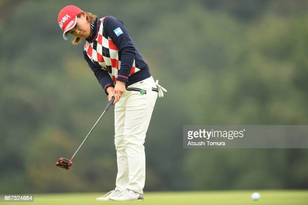 Kana Nagai of Japan hits her putts on the 6th hole during the second round of the Higuchi Hisako Ponta Ladies at the Musashigaoka Golf Course on...
