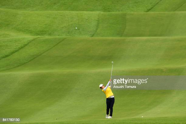 Kana Nagai of Japan hits her second shot on the 11th hole during the second round of the Golf 5 Ladies Tournament 2017 at the Golf 5 Country Oak...
