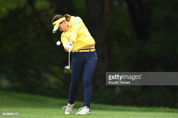 Kana Nagai of Japan hits her second shot on the 12th hole during the first round of the 50th LPGA Championship Konica Minolta Cup 2017 at the Appi...