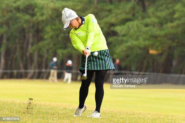 Kana Nagai of Japan hits her second shot on the 14th hole during the third round of the LPGA Tour Championship Ricoh Cup 2017 at the Miyazaki Country...