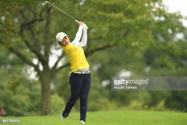 Kana Nagai of Japan hits her second shot on the 9th hole during the second round of the Golf 5 Ladies Tournament 2017 at the Golf 5 Country Oak...