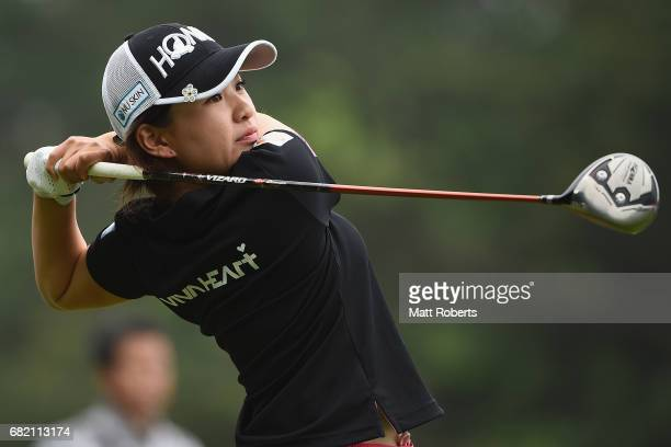 Kana Nagai of Japan hits her tee shot on the 10th hole during the first round of the HokennoMadoguchi Ladies at the Fukuoka Country Club Wajiro...