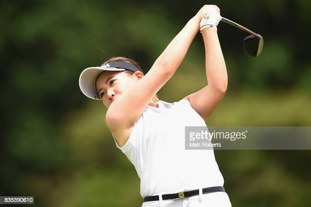 Kana Nagai of Japan hits her tee shot on the 12th hole during the second round of the CAT Ladies Golf Tournament HAKONE JAPAN 2017 at the Daihakone...