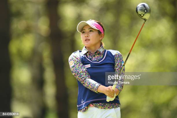 Kana Nagai of Japan hits her tee shot on the 12th hole during the second round of the 50th LPGA Championship Konica Minolta Cup 2017 at the Appi...