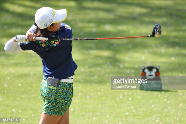 Kana Nagai of Japan hits her tee shot on the 15th hole during the second round of the KKT Cup Vantelin Ladies Open at the Kumamoto Airport Country...